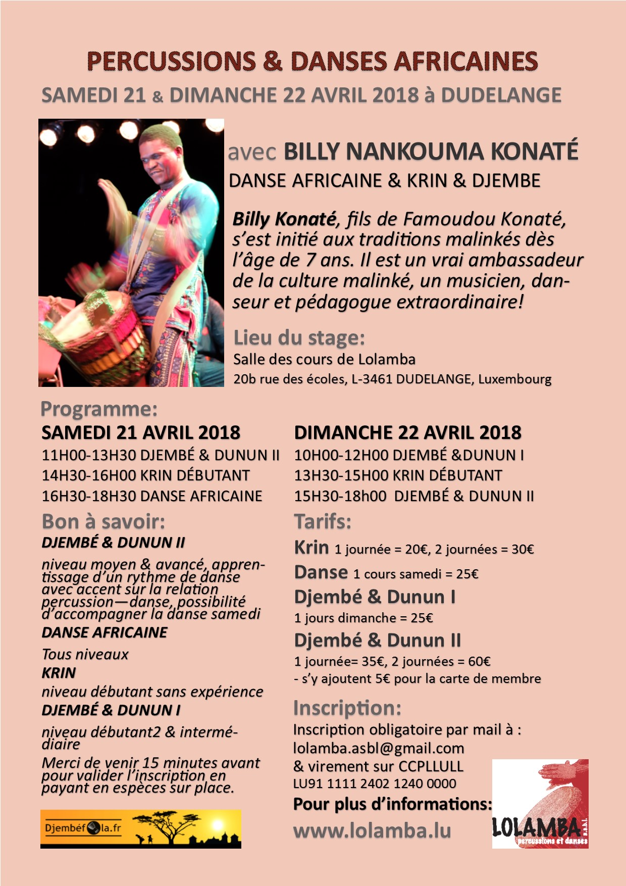 Ateliers de Billy Konate le weekend 21 et 22 avril